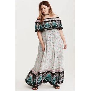 NWT! Torrid Insider Mixed Print Challis Maxi Dress